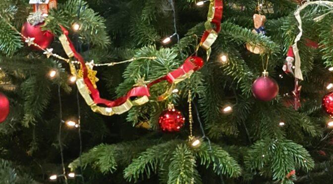 Weihnachtsbaum in der Pausenhalle